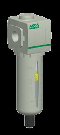 Equipo para tratamiento de aire, filtro que permite eliminar las partículas y las gotitas de agua contenidas en el aire comprimido. Es parte de los productos para neumática distribuidos en Costa Rica por Tecnosagot S.A.